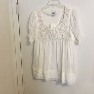Boho Baby Doll Blouse Cream Size L